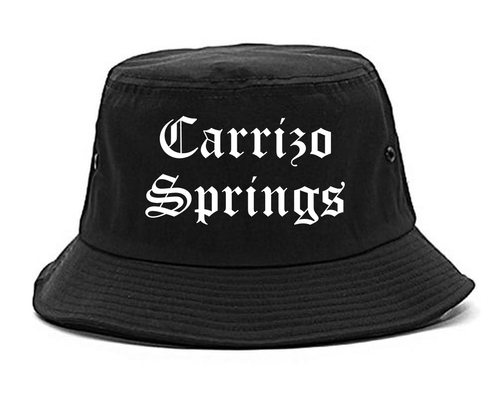 Carrizo Springs Texas TX Old English Mens Bucket Hat Black