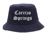 Carrizo Springs Texas TX Old English Mens Bucket Hat Navy Blue