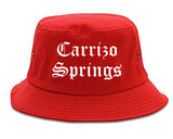 Carrizo Springs Texas TX Old English Mens Bucket Hat Red