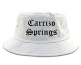 Carrizo Springs Texas TX Old English Mens Bucket Hat White
