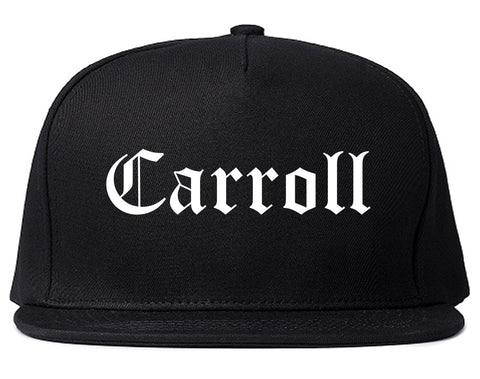 Carroll Iowa IA Old English Mens Snapback Hat Black