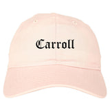Carroll Iowa IA Old English Mens Dad Hat Baseball Cap Pink