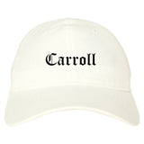 Carroll Iowa IA Old English Mens Dad Hat Baseball Cap White