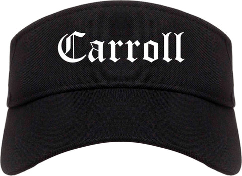 Carroll Iowa IA Old English Mens Visor Cap Hat Black