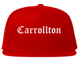 Carrollton Georgia GA Old English Mens Snapback Hat Red