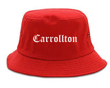 Carrollton Georgia GA Old English Mens Bucket Hat Red