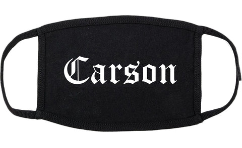 Carson California CA Old English Cotton Face Mask Black