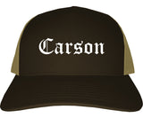 Carson California CA Old English Mens Trucker Hat Cap Brown