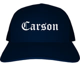 Carson California CA Old English Mens Trucker Hat Cap Navy Blue