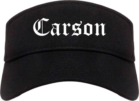 Carson California CA Old English Mens Visor Cap Hat Black