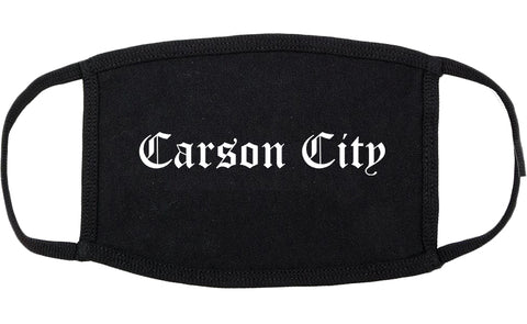 Carson City Nevada NV Old English Cotton Face Mask Black
