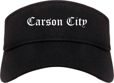 Carson City Nevada NV Old English Mens Visor Cap Hat Black