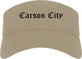 Carson City Nevada NV Old English Mens Visor Cap Hat Khaki