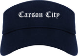 Carson City Nevada NV Old English Mens Visor Cap Hat Navy Blue
