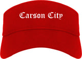 Carson City Nevada NV Old English Mens Visor Cap Hat Red