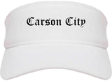 Carson City Nevada NV Old English Mens Visor Cap Hat White
