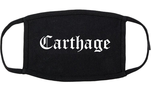 Carthage Missouri MO Old English Cotton Face Mask Black