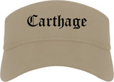 Carthage Missouri MO Old English Mens Visor Cap Hat Khaki