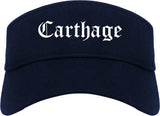 Carthage Missouri MO Old English Mens Visor Cap Hat Navy Blue