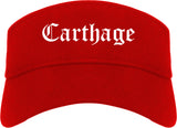 Carthage Missouri MO Old English Mens Visor Cap Hat Red
