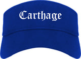 Carthage Missouri MO Old English Mens Visor Cap Hat Royal Blue