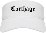 Carthage Missouri MO Old English Mens Visor Cap Hat White