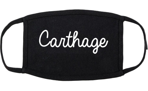 Carthage Texas TX Script Cotton Face Mask Black
