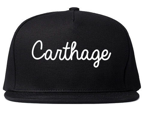 Carthage Texas TX Script Mens Snapback Hat Black