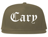 Cary Illinois IL Old English Mens Snapback Hat Grey