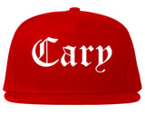 Cary Illinois IL Old English Mens Snapback Hat Red
