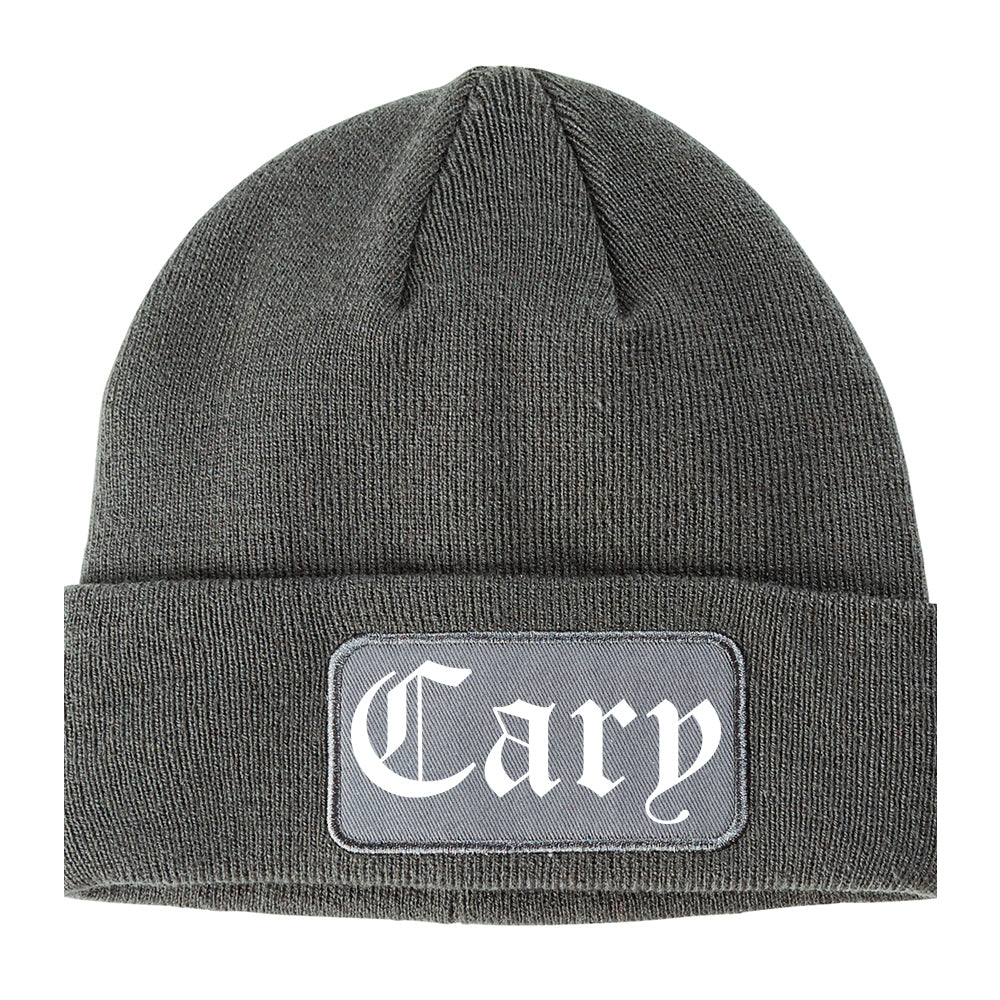 Cary Illinois IL Old English Mens Knit Beanie Hat Cap Grey