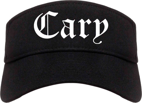 Cary Illinois IL Old English Mens Visor Cap Hat Black
