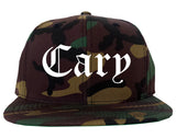 Cary North Carolina NC Old English Mens Snapback Hat Army Camo