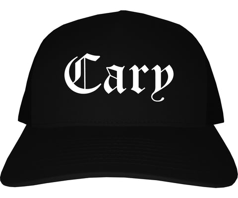 Cary North Carolina NC Old English Mens Trucker Hat Cap Black