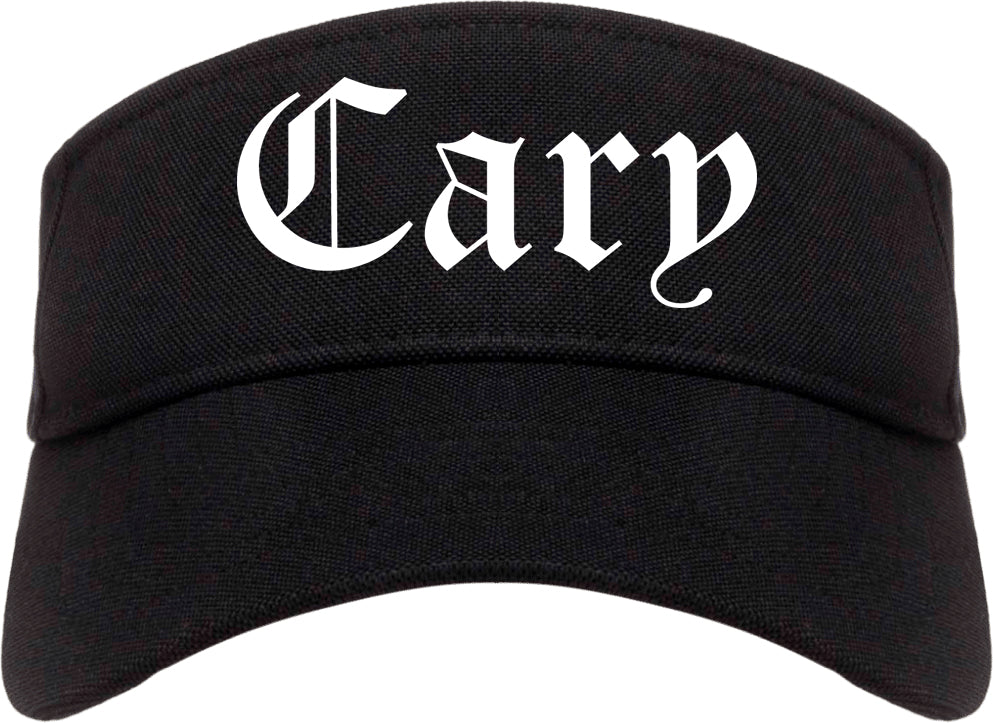 Cary North Carolina NC Old English Mens Visor Cap Hat Black