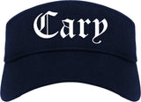 Cary North Carolina NC Old English Mens Visor Cap Hat Navy Blue