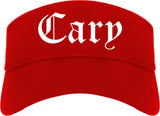 Cary North Carolina NC Old English Mens Visor Cap Hat Red
