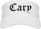Cary North Carolina NC Old English Mens Visor Cap Hat White