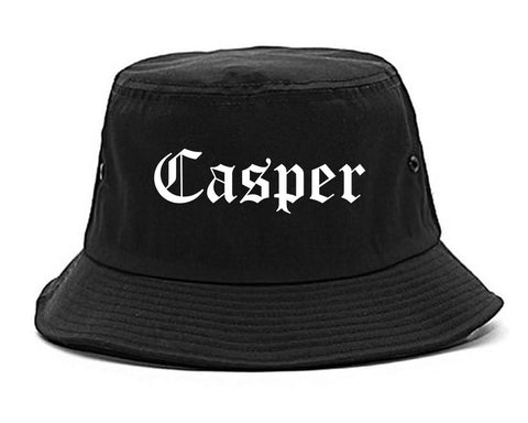 Casper Wyoming WY Old English Mens Bucket Hat Black