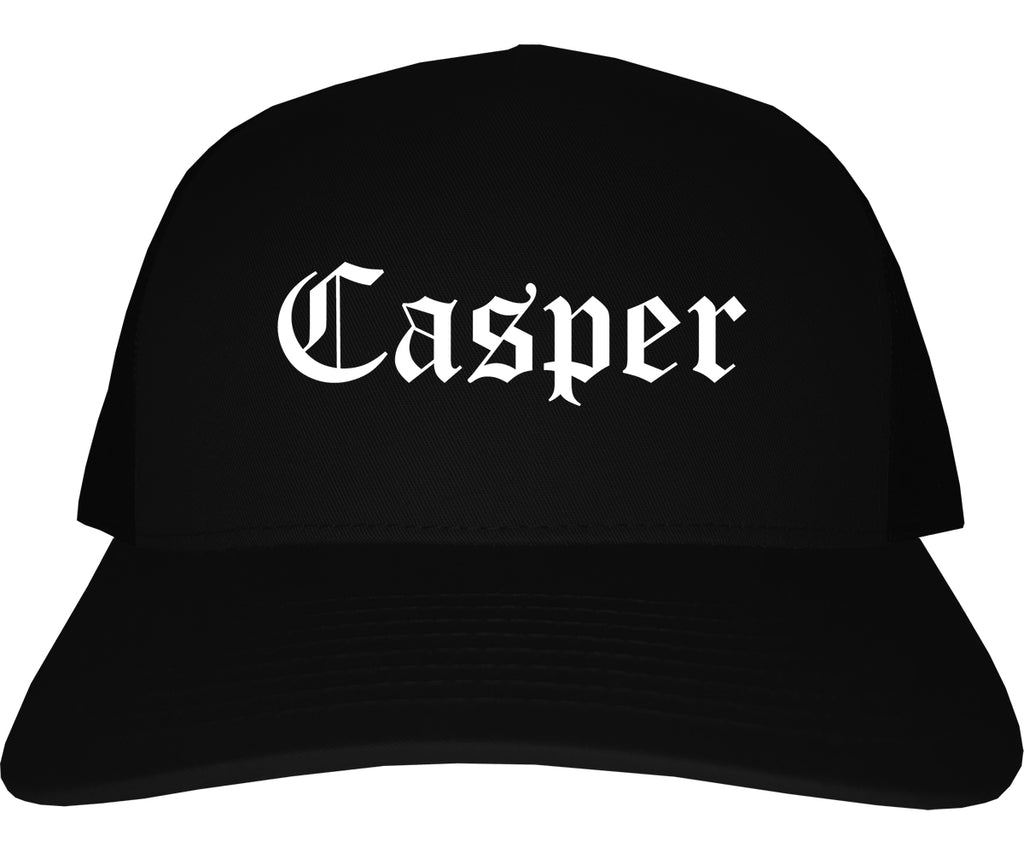 Casper Wyoming WY Old English Mens Trucker Hat Cap Black