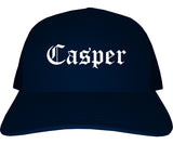 Casper Wyoming WY Old English Mens Trucker Hat Cap Navy Blue