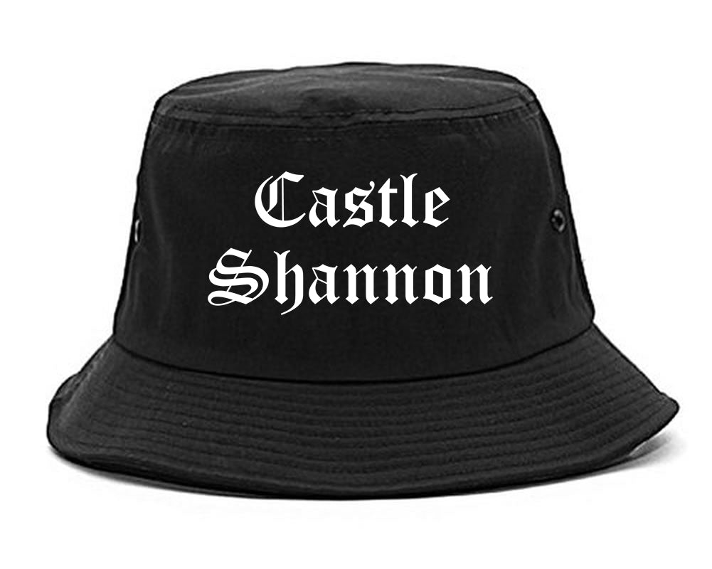 Castle Shannon Pennsylvania PA Old English Mens Bucket Hat Black