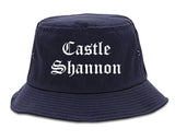 Castle Shannon Pennsylvania PA Old English Mens Bucket Hat Navy Blue