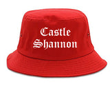 Castle Shannon Pennsylvania PA Old English Mens Bucket Hat Red