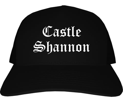 Castle Shannon Pennsylvania PA Old English Mens Trucker Hat Cap Black