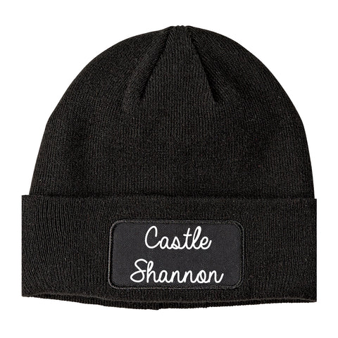 Castle Shannon Pennsylvania PA Script Mens Knit Beanie Hat Cap Black