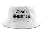 Castle Shannon Pennsylvania PA Old English Mens Bucket Hat White