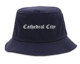 Cathedral City California CA Old English Mens Bucket Hat Navy Blue