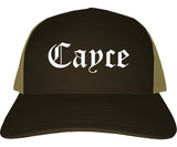 Cayce South Carolina SC Old English Mens Trucker Hat Cap Brown