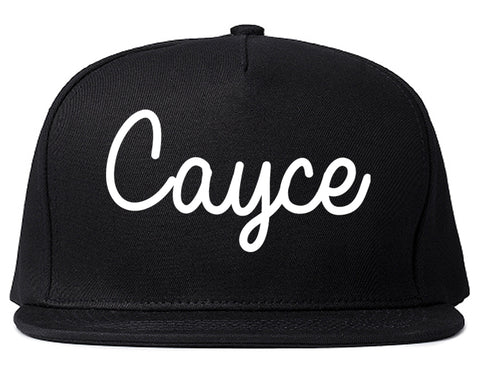 Cayce South Carolina SC Script Mens Snapback Hat Black